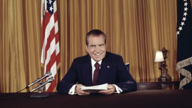 On August 15, 1973, in his second address to the nation concerning the Watergate trial, President Richard Nixon denies any role in a cover-up.