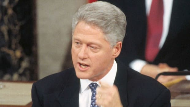 On February 4, 1997, in his first State of the Union address since winning reelection over Bob Dole in 1996, President Bill Clinton focuses on his administration's domestic policy.