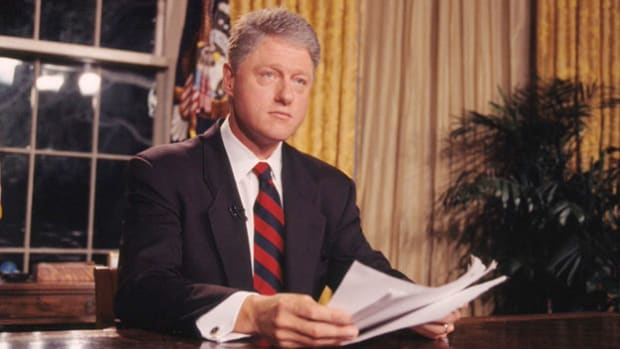 On September 15, 1994, in an address to the nation, President Bill Clinton reviews the reasons behind his decision to launch a U.S.-led military mission to restore a democratic government to Haiti.
