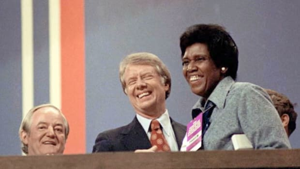 In July 1976, as the first African-American to deliver a keynote address at the Democratic National Convention, Rep. Barbara Charline Jordan speaks about a solution to the problems facing America.