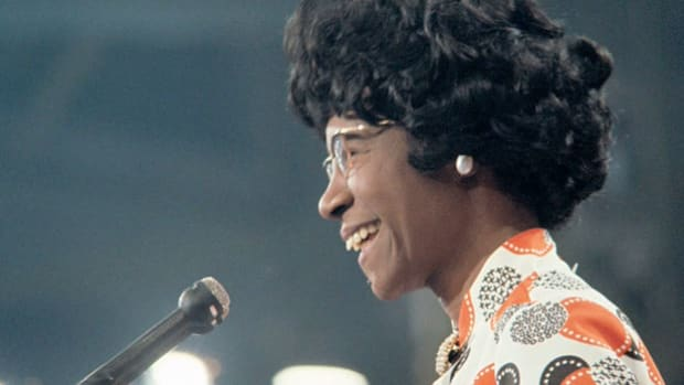 While seeking the candidacy for president of the United States in 1972, Shirley Chisholm campaigns hard, speaking to crowds across the country about her beliefs in equality for women and minorities. In 1968, Chisholm became the first African-American congresswoman.