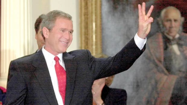 After a 36-day legal battle over one of the most contested presidential elections in American history, Vice President Al Gore conceded the 2000 U.S. presidential election to George W. Bush. On December 13, after receiving the phone call from Gore, President Bush addresses the nation.