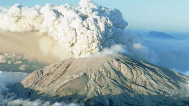 A report from Portland, Oregon, describes alarming volcanic activity on Mount St. Helens in Washington's Cascade Range. Starting on March 20, 1980, a series of intensifying earthquakes blasted a 300-foot crater near the top of the peak, putting the nearby population on alert. On May 18, 1980, the volcano erupted.