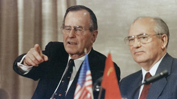 President George H. W. Bush and Soviet leader Mikhail Gorbachev declared an end to the Cold War at the Malta Summit on December 3, 1989. At a joint press conference aboard the Soviet passenger liner Maxim Gorky in Marsaxlokk Harbor, President Bush speaks about his hopes for a cooperative U.S.-Soviet relationship.