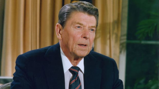 On January 28, 1986, instead of delivering his scheduled State of the Union Address, President Ronald Reagan speaks to the American people about the space shuttle disaster that killed seven astronauts.