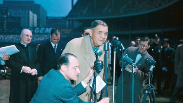 "On April 27, 1947, baseball legend Babe Ruth, diagnosed with a terminal case of throat cancer, attended  ""Babe Ruth Day"" at Yankee Stadium. A 13-year-old boy representing the American Legion baseball program introduces Babe Ruth, who delivers a speech to the crowd from home plate."