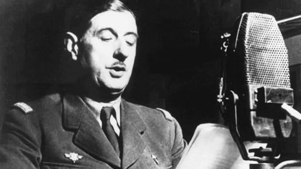 On July 14, 1941, Bastille Day, a radio address from French Gen. Charles de Gaulle urges Americans to join the struggle against Nazi tyranny and oppression. De Gaulle had fled to Britain in 1940.