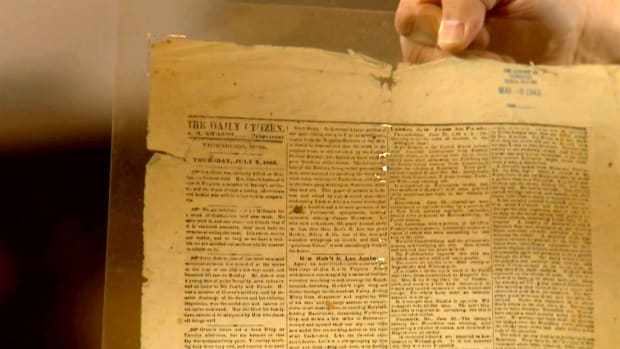 "1863 ""Wallpaper Edition"" of the Daily Citizen newspaper is created as resources is scarce during the Civil War."