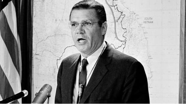 The secretary of Defense Robert McNamara appeared before the press to defend the bombing of the Major North Vietnamese cities of Hanoi and Haiphong.  The bombings were supposed to deprive the military from essential supplies. The bombings showed the United States the resilience of the North Vietnamese, and that the war wasn't going to end as quickly as they hoped.