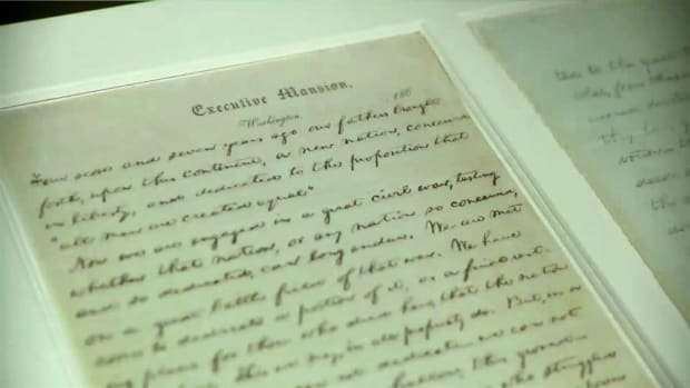 Original or facsimile? The original Gettysburg Address bears creases in it it from when Abraham Lincoln placed it in his pocket.
