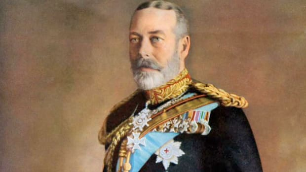 King George V speaks to the crowds gathered in London to celebrate his Silver Jubilee on May 6, 1935.