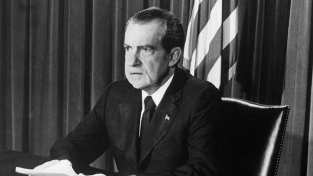 After the revelations of the Watergate scandal, President Richard Nixon announces to the nation on August 8, 1974, that he will resign the presidency at noon the following day.
