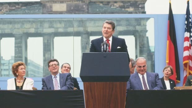 In June of 1987, President Ronald Reagan stopped in West Berlin on the 750th anniversary of the city and delivered one of his most famous lines when he demanded that Mikhail Gorbachev tear down the Berlin Wall. In an address to the nation following his return from that trip, President Reagan recalls standing next to the imposing structure.