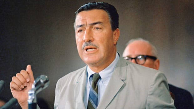 A civil rights leader in Harlem before entering politics, Adam Clayton Powell Jr. served in the U.S. House of Representatives from 1945 to 1971. The fiery politician's oratorical skills are on display in a speech on racial justice.