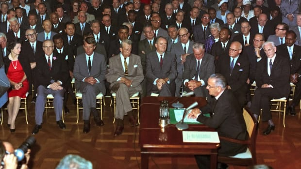 In a This Day in History video, learn that on July 2, 1964, President Lyndon Johnson signed the Civil Rights Act. Led by Dr. Martin Luther King Jr., the Civil Rights movement had been gathering force. The bill banned racial discrimination in education, employment, and public facilities, but not everyone shared these ideals. The law ushered in an era of progress for all minorities and women.