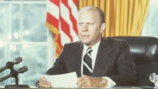 "In a live broadcast on September 8, 1974, President Gerald Ford grans his disgraced predecessor, Richard Nixon, a ""full free and absolute pardon."" In an effort to end speculation over whether he had cut a ""deal"" with Nixon, Ford emphatically stated he'd given the pardon to heal the nation."