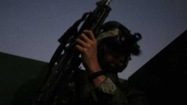 During a night operation in Iraq, U.S. Army forces were caught in a fire fight with Iraqis.