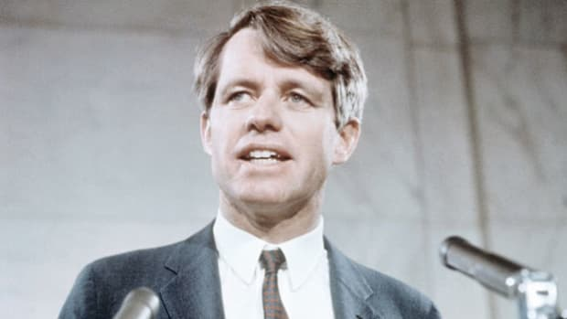 On March 16, 1968, from the On March 16, 1968, from the Caucus Room of the Old Senate Office Building the same place his late brother declared his candidacy for president eight years earlier Sen. Robert F. Kennedy announces his intention to run for the Democratic presidential nomination.
