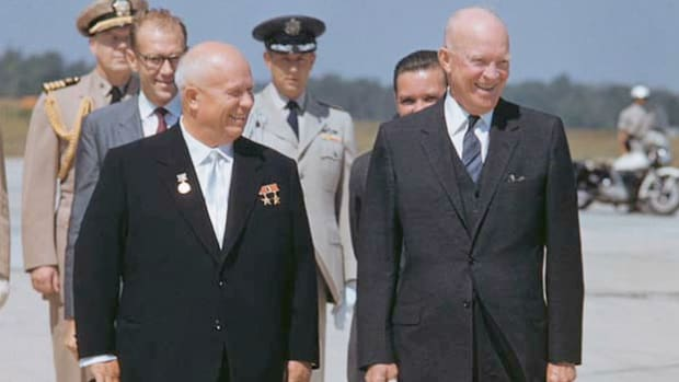 On September 15, 1959, Soviet Premier Nikita Khrushchev, promising an open heart and good intentions,  began an unprecedented tour of the United States. President Eisenhower expresses his hopes upon Khrushchev's arrival for improved relations between the two superpowers.