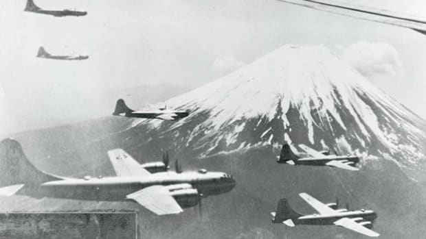 As the United States bombards the Japanese islands in 1945, low-level air attacks can be heard in the first-ever direct broadcast of a B-29 raid.