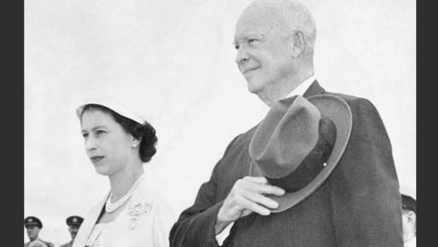 On June 26, 1959, the Saint Lawrence Seaway, which provides access from the Atlantic Ocean to the Great Lakes, was officially opened in a ceremony presided over by President Dwight D. Eisenhower and Queen Elizabeth II. In her opening ceremony speech, Queen Elizabeth praises the great engineering accomplishment.