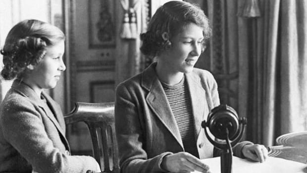 In a radio address on October 13, 1940, the young Princess Elizabeth and Princess Margaret offer words of courage to British children who had been evacuated from Great Britain while their country was at war.
