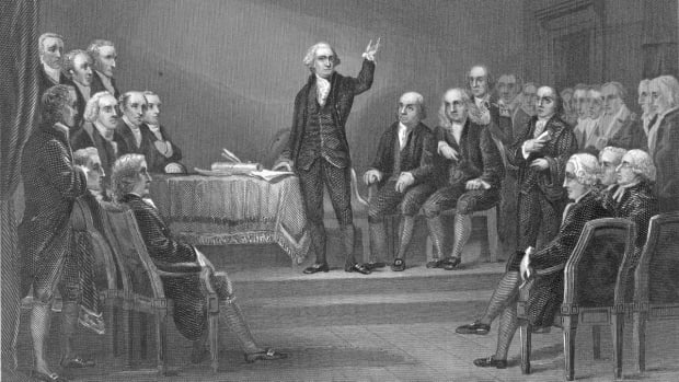 George Washington presiding over the Constitutional Convention, 1787.  (Credit: Hulton Archive/Getty Images)