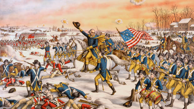 American military commander General George Washington leading the Continental Army in the Battle of Princeton during the American Revolutionary War, 1777.