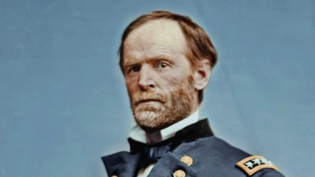 """During the infamous 285-mile """"March to the Sea,"""" General William Tecumseh Sherman burns buildings, twists train tracks, and tramples the Georgian countryside in this scene from """"Bloodbath."""""""