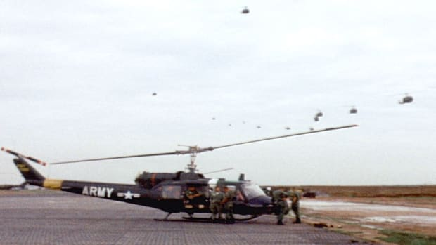 "The UH-1 ""Huey"" helicopter became a symbol of U.S. combat forces in Vietnam."