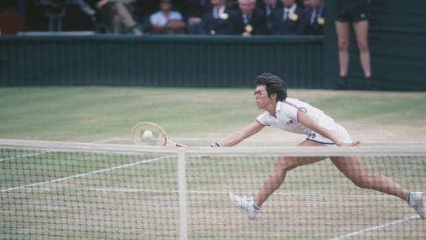 1972: Billy Jean King runs to hit the ball during the Virginia Slims Championship series circa 1972. King  founded the series in 1971. (Photo by Focus on Sport/Getty Images) *** Local Caption *** Billy Jean King