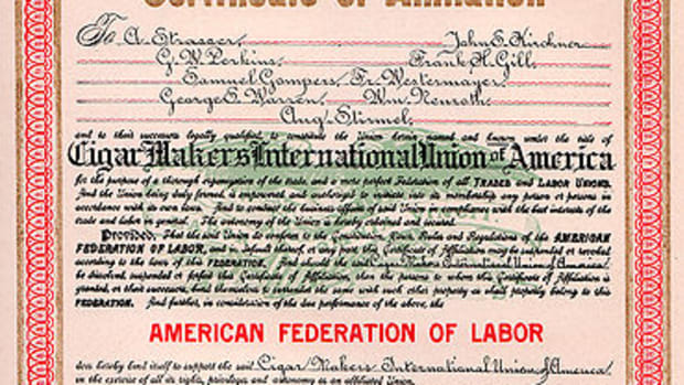 American Federation of Labor charter for the Cigar Makers International Union of America, 1919.