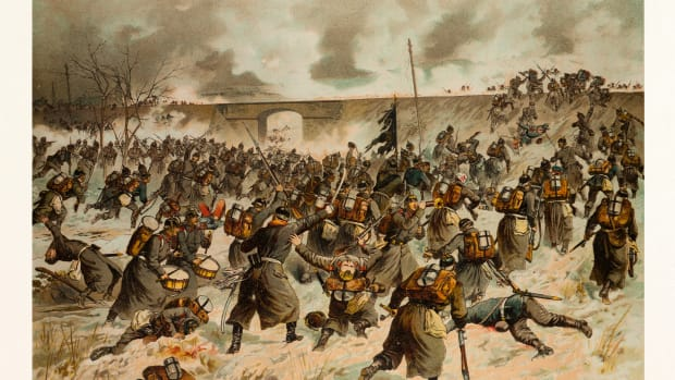 From The Battle Near Amiens On The 23rd Of December 1870. The Storming Of The Railway Dam Near Villers Bretonneux By The 44rthers. The Franco-prussian War Or Franco-german War, Often Referred To In France As The War Of 1870. Georg Koch (1857-1936) Was A Very Well-known German Painter, Woodcut And Lithograph Artist Of The Late 19th – Early 20th Century. Pupil Of His Father Carl Koch, He Also Studied At The Berlin Academy. (Photo by: Universal History Archive/UIG via Getty Images)