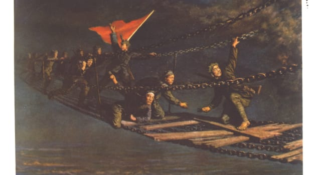 communist-china-may-1935-an-incident-on-the-long-march-crossing-the-tatu-river-at-luting-by-the-bridge-of-the-iron-chains-after-a-painting-by-li-tsung-tsir
