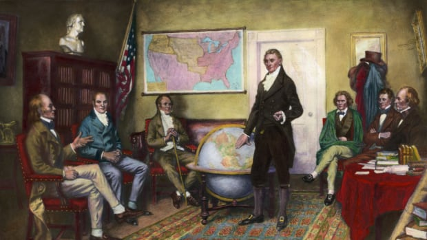 1912-Painting by Clyde De Land of the birth of the Monroe Doctrine, (1823). (L TO R): John Irving Adams; William Harris Crawford; William Wirt; President James Monroe; John Caldwell Calhoun; Daniel D. Tompkins; and John McLean. — Image by © Bettmann/CORBIS