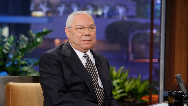 THE TONIGHT SHOW WITH JAY LENO — Episode 4261 — Pictured: General Colin Powell during an interview on May 25, 2012 — (Photo by: Paul Drinkwater/NBC/NBCU Photo Bank)
