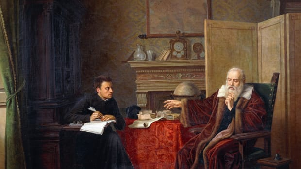 ITALY – OCTOBER 02: Galileo Galilei (1564-1642) dictating his Observations to his secretary in Arcetri. Painting by Vincenzo Cesare Cantagalli (1839-1887), 1870, Palazzo Chigi alla Postierla (formerly Palazzo Piccolomini-Adami), Siena, Italy. (Photo by DeAgostini/Getty Images)