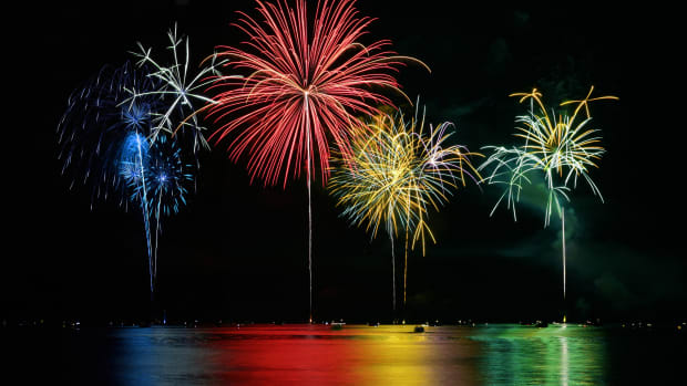 colorful-fireworks-over-lake