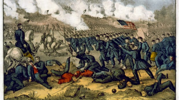 american-civil-war-1861-1865-battle-of-fredericksburg-virginia-11-15-december-1862-union-army-of-the-potomac-under-burnside-attacking-confederate-victory-under-robert-e-lee-currier-ives-i