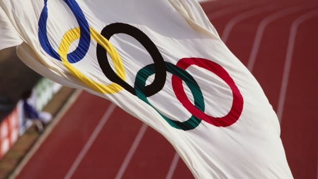 ca. 1991 — Flag of the Olympics — Image by © Duomo/CORBIS
