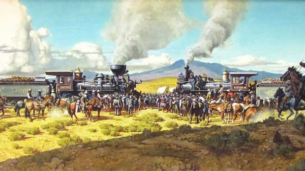 golden-spike-national-historic-site-commemorating-the-completion-of-the-first-trans-continental-railroad-near-promontory-utah-in-1869-a-painting-recreating-the-historic-meeting-of-the-trains-to-dri