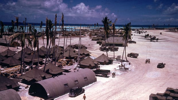 TARAWA, GILBERT ISLANDS – JANUARY 01:  Airstrip on Tarawa during WWII.  (Photo by J. R. Eyerman/Time & Life Pictures/Getty Images)