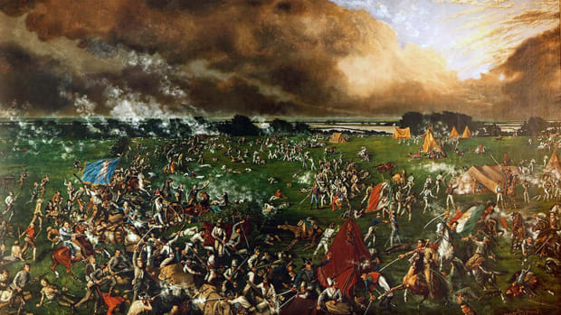 UNSPECIFIED – CIRCA 1754: Battle of San Jacinto, 21 April 1836: Texas War of Independence (from Mexico) also called the Texas Revolution. Mexicans led by Santa Anna defeated in 12 minutes by Texian (US) forces under Sam Houston. Santa Anna captured and forced to sign Treaty of Velasco on 14 May which recognised the independence of Texas. (Photo by Universal History Archive/Getty Images)