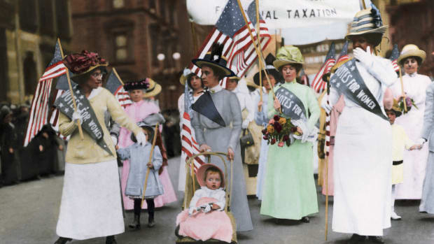 May 1912 — American Suffragette parade in New York City, May 1912.  Color Photograph. BPA 2 #6052 — Image by © Bettmann/CORBIS