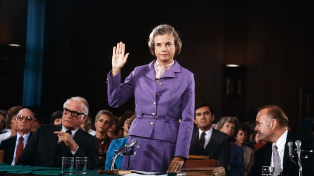 WASHINGTON – 1981:  (NO U.S. TABLOID SALES)  Sandra Day O'Connor is sworn in before the Senate Judiciary committee during confirmation hearings in 1981 in Washington, DC as she seeks to become first woman to take a seat on the U.S. Supreme Court.  (Photo by David Hume Kennerly/Getty Images)
