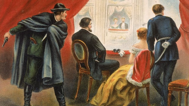 Illustration depicting John Wilkes Booth preparing to assassinate president Abraham Lincoln in the balcony of Ford's Theatre, Washington DC, April 14, 1865. (Kean Collection/Getty Images)