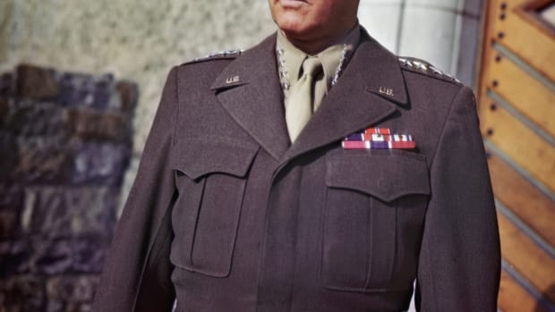 01 Jan 1943 — Waist-up portrait of General George S. Patton, Jr. in uniform, 1943.   UPI color slide. — Image by © Bettmann/CORBIS