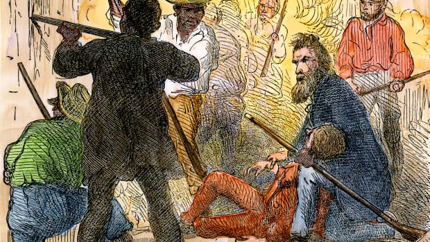 John Brown between his dying sons in the battle at Harper's Ferry, 1859. Hand-colored woodcut of a 19th-century illustration