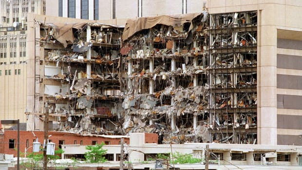 The north side of the Albert P. Murrah Federal Building in Oklahoma City shows 19 April 1995 the devastation caused by a fuel-and fertilizer truck bomb that was detonated early 19 April in front of the building. The blast, the worst terror attack on US soil, killed 168 people and injured more than 500. Timothy McVeigh, convicted on first-degree murder charges for the 19 April bombing was sentenced to death in 1997. AFP PHOTO BOB DAEMMRICH  (Photo credit should read BOB DAEMMRICH/AFP/Getty Images)
