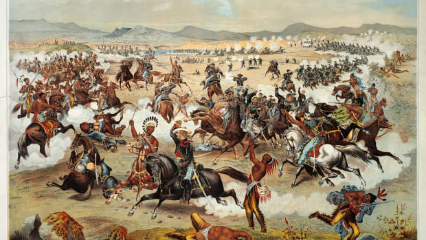 UNITED STATES – CIRCA 2002:  General Custer's last stand at the Battle of Little Bighorn, June 25, 1876. Native American Wars, United States, 19th century. (Photo by DeAgostini/Getty Images)